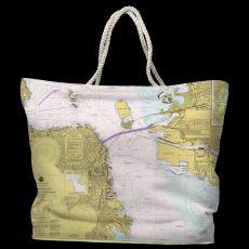 CA: San Francisco, CA Water-Repellent Nautical Chart Tote Bag