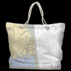 DE: Rehoboth Beach, DE Water-Repellent Nautical Chart Tote Bag