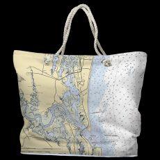 FL: Amelia Island, FL Water-Repellent Nautical Chart Tote Bag