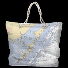 FL: Key Largo, FL Water-Repellent Nautical Chart Tote Bag