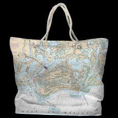 FL: Marco Island, FL Water-Repellent Nautical Chart Tote Bag