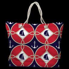 Sailboats & Anchors Tote Bag with Nautical Rope Handles