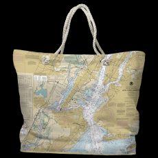 NY: New York Harbor, NY Water-Repellent Nautical Chart Tote Bag