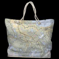 LA: New Orleans, LA Water-Repellent Nautical Chart Tote Bag