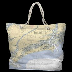 SC: Kiawah Island, SC Water-Repellent Nautical Chart Tote Bag