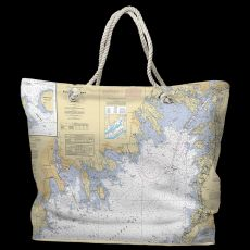 MA: Buzzards Bay, MA Water-Repellent Nautical Chart Tote Bag