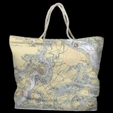 SC: Beaufort & Ladys Island, SC Water-Repellent Nautical Chart Tote Bag