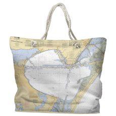 TX: Corpus Christi Bay, TX Water-Repellent Nautical Chart Tote Bag