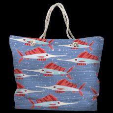 Sailfish School Coral Tote Bag with Nautical Rope Handles
