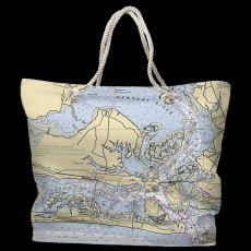 NC: Morehead City, NC Water-Repellent Nautical Chart Tote Bag
