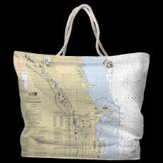 IL: Chicago Harbor, IL Water-Repellent Nautical Chart Tote Bag