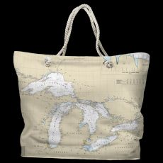 Great Lakes Water-Repellent Nautical Chart Tote Bag
