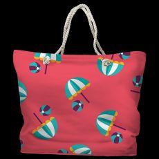 Umbrellas & Beach Balls Tote Bag with Nautical Rope Handles