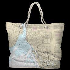NY: Buffalo Harbor, NY Water-Repellent Nautical Chart Tote Bag
