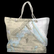 MN-WI: Duluth, MN & Superior, WI Water-Repellent Nautical Chart Tote Bag