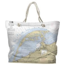 PA: Erie Harbor, PA Water-Repellent Nautical Chart Tote Bag