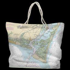 NC: Oak Island, Southport, Bald Head Island, NC Water-Repellent Nautical Chart Tote Bag