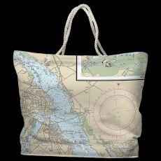 NC: New Bern, NC Water-Repellent Nautical Chart Tote Bag