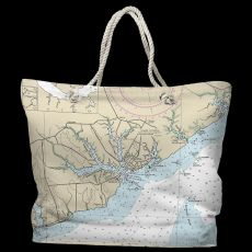 NC: Oriental, NC Water-Repellent Nautical Chart Tote Bag