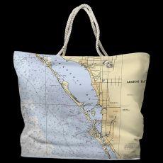 FL: Sarasota, FL Water-Repellent Nautical Chart Tote Bag