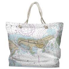 FL: Key Biscayne, FL Water-Repellent Nautical Chart Tote Bag