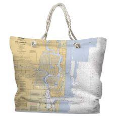 FL: Fort Lauderdale, FL Water-Repellent Nautical Chart Tote Bag
