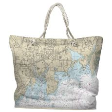 CT: Stamford, CT Water-Repellent Nautical Chart Tote Bag