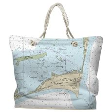 NC: Cape Hatteras, NC Water-Repellent Nautical Chart Tote Bag