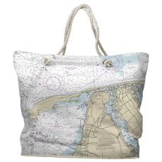 NJ: Sandy Hook, NJ Water-Repellent Nautical Chart Tote Bag