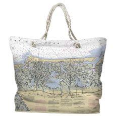 NJ: Stone Harbor, Avalon, NJ Water-Repellent Nautical Chart Tote Bag