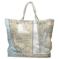 FL: Naples, FL Water-Repellent Nautical Chart Tote Bag
