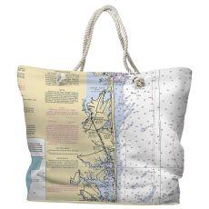 DE: Bethany Beach, DE Water-Repellent Nautical Chart Tote Bag