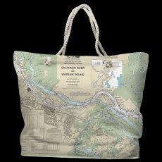 GA: Savannah, GA Water-Repellent Nautical Chart Tote Bag