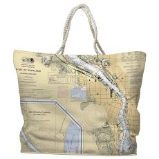 OR: Portland, OR Water-Repellent Nautical Chart Tote Bag