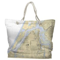 OR: Coos Bay, OR Water-Repellent Nautical Chart Tote Bag