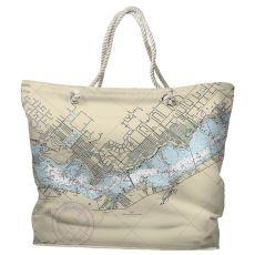 FL: Cape Coral, FL Water-Repellent Nautical Chart Tote Bag