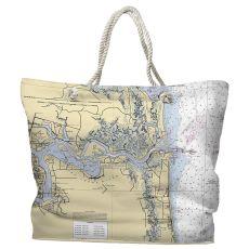 FL: Jacksonville, FL Water-Repellent Nautical Chart Tote Bag