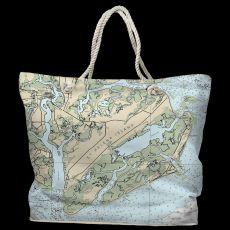 SC: St. Helena Island, Fripp Island, Hunting Island, SC Tote Bag with Nautical Rope Handles