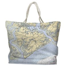 SC: Edisto Island, SC Water-Repellent Nautical Chart Tote Bag