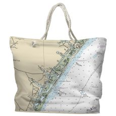 NC: Wrightsville Beach, NC Water-Repellent Nautical Chart Tote Bag