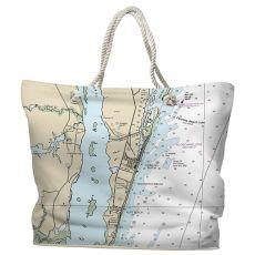 NC: Carolina Beach, Wilmington Beach, Kure Beach, NC Water-Repellent Nautical Chart Tote Bag