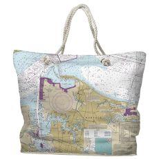VA: Norfolk, VA Water-Repellent Nautical Chart Tote Bag