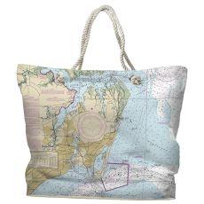 VA: Hampton, VA Water-Repellent Nautical Chart Tote Bag