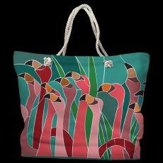 Flamingo Walk Tote Bag with Nautical Rope Handles