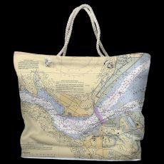 CA: Benicia, CA Water-Repellent Nautical Chart Tote Bag