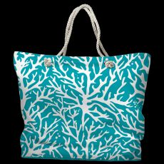 Coral Turquoise Tote Bag with Nautical Rope Handles