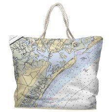 NJ: Ocean City, Great Egg Harbor Inlet, NJ Water-Repellent Nautical Chart Tote Bag