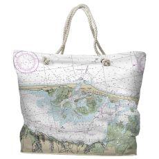 NJ: Barnegat Light, NJ Water-Repellent Nautical Chart Tote Bag