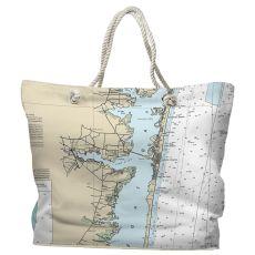 NJ: Toms River, NJ Water-Repellent Nautical Chart Tote Bag