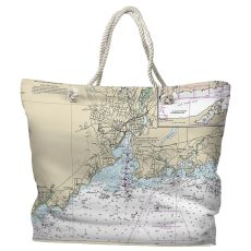 CT: New Haven, CT Water-Repellent Nautical Chart Tote Bag